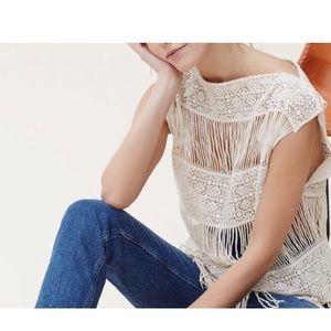 Boho crochet fringe top